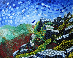 Santorini Hillside Acrylic on Canvas