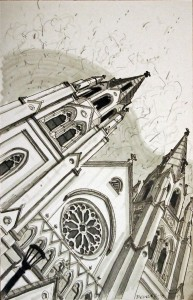 "Crooked Cathedral 11""x17"" Ink on Bristol"
