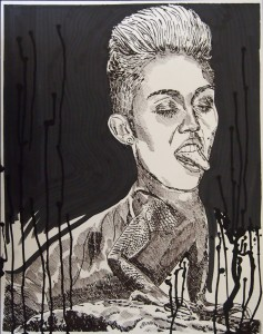 "Popped a Miley I'm Lickin' 16""x20"" Ink on Bristol"