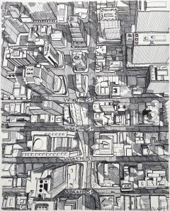 "Manhattan Aerial 16""x20"" Ink on Bristol"