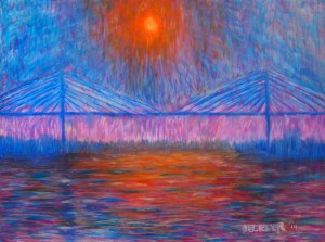 Sunset over Talmadge Bridge 30x40